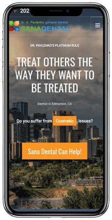 sana dental responsive mobile site